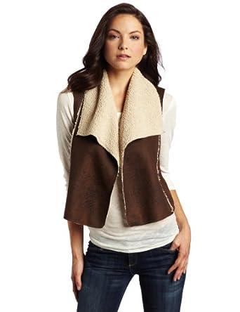 C&C California Women's Distressed Shearling Vest, Coffee, X-Small SP