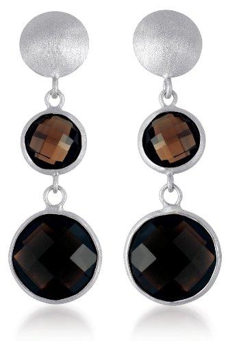 CleverEve Designer Series One Pair of Gem Dark Smokey Quartz Drop Sterling Silver Earrings w/ Matte Finish