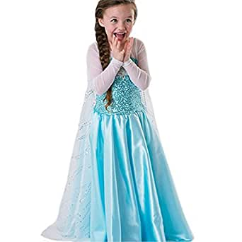 Faermi Girls' Princess Elsa Fancy Dress Halloween Costume