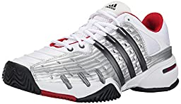 adidas Performance Men\'s Barricade Classic Tennis Shoe, White/Metallic Grey/Silver, 9.5 M US