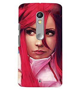 PrintDhaba RED HAIR GIRL D-6105 Back Case Cover for MOTOROLA MOTO X PLAY (Multi-Coloured)