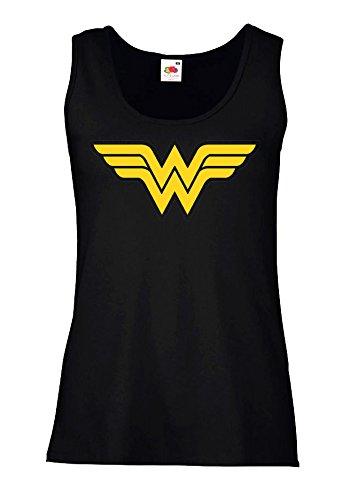 """Canotta Donna """"Wonder Woman - logo"""" - 100% cotone LaMAGLIERIA, M, Nero"""
