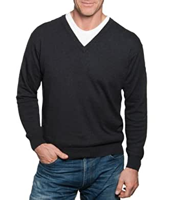 Wool Overs Pull à col V en cachemire et coton homme Anthracite XS