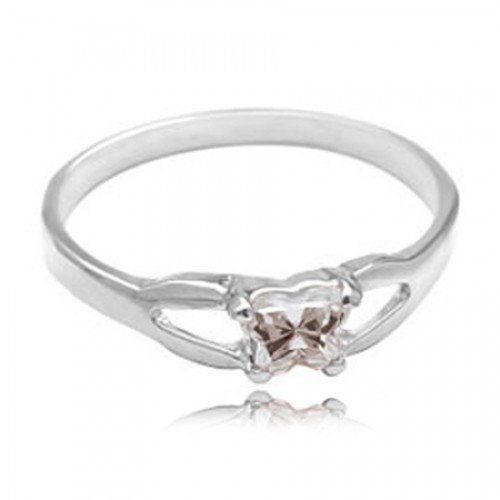 Sterling Silver Child'S April White Cubic Zirconia