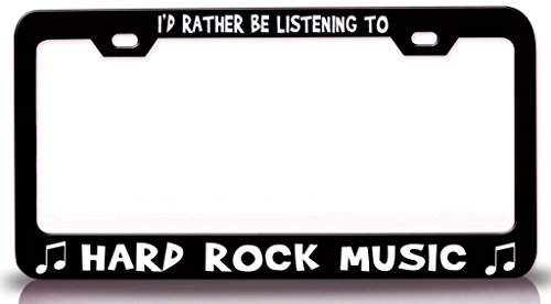 HARD ROCK MUSIC with Music Note Steel Metal License Plate Frame Black (License Plate Frame Rock Music compare prices)