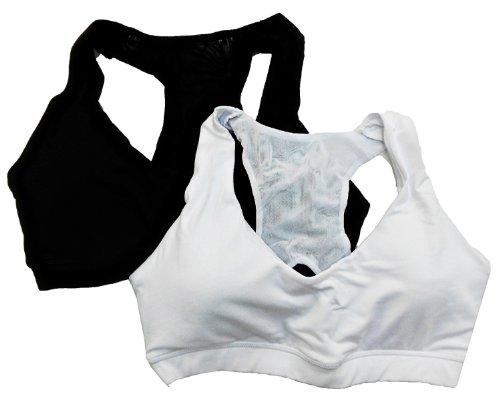74bf40170dc34 Bally Total Fitness Women s 2 Pack High Impact Sport Bra Black White Large  (36C 38B)