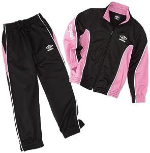 Umbro World Knit - Chándal para niña, color rosa, blanco y negro gris negro y rosa Talla:12 - 14 años (150 cm)