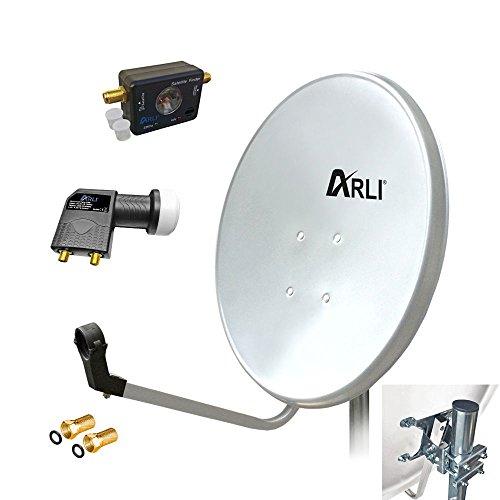 60 cm HD SAT Anlage Digitale WEISS Twin LNB SATFINDER 2 Teilnehmer Antenne Spiegel 4K