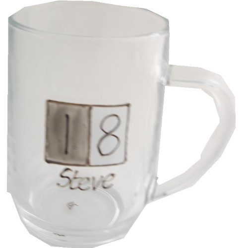 PERSONALISED 18th Birthday Gift Glass Tankard(Sq) MAXIMUM 25 CHARACTERS