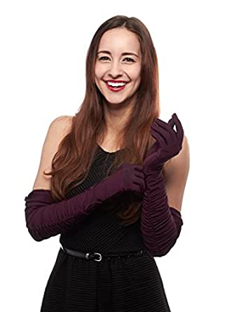 Disco Fever Shirred Stretch Satin Opera Length Gloves (Aubergine)