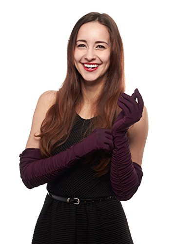 Disco Fever Shirred Stretch Matte Satin Opera Length Gloves