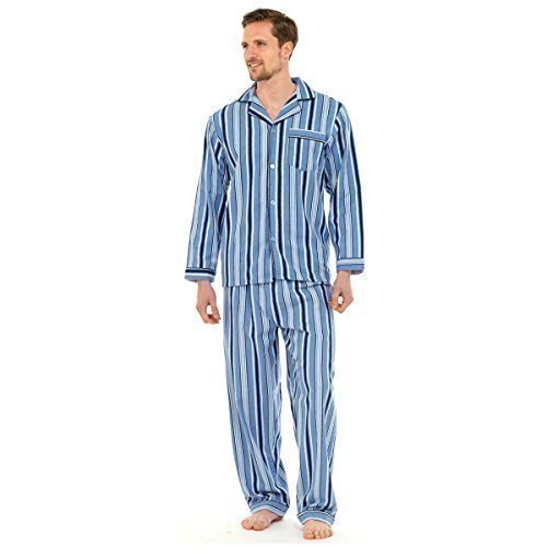 Gensen - Herren Traditionelles Flanell Pyjama Schlafanzug Set Nachtwäsche 2 Teile Set Baumwolle - L, Hellblau Gestreift