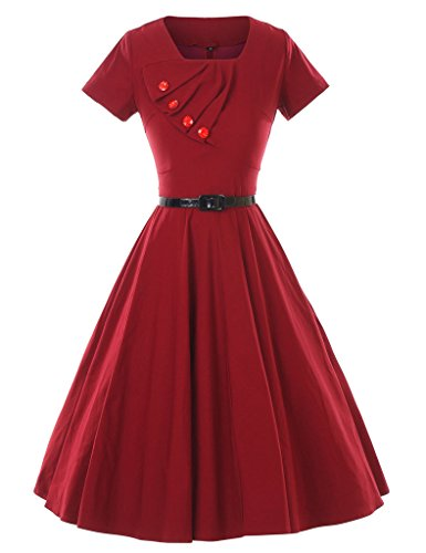 GownTown-1950s-Retro-Vintage-Short-Sleeve-Party-Swing-Stretchy-Dresses