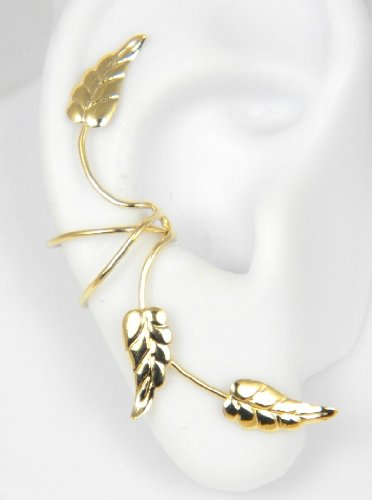 Gold Vermeil 3 Southwest leaves Full Ear Cuff for Right Ear
