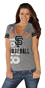 San Francisco Giants Gray Big Play Ladies Vintage Jersey Style Tri-blend V-Neck... by G-III Sports