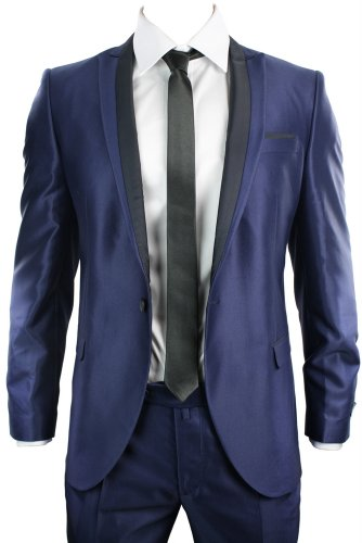 Mens Shiny Slim Fit Wedding Party Suit Blue Black Trim 1 Button Blazer & Trousers
