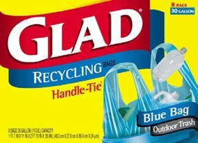 Glad Handle-tie Recycling Trash Bags, 30 Gallon, 8-count (Pack of 6)