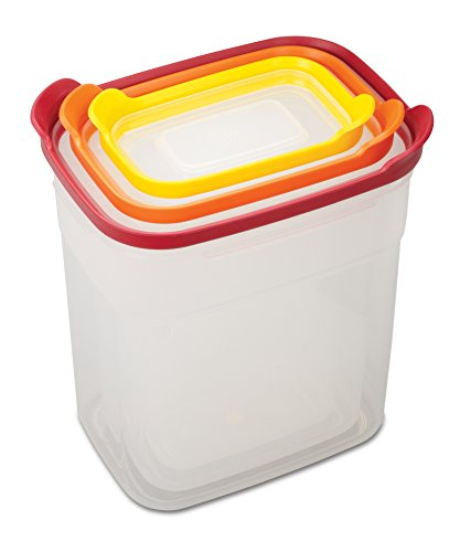 Joseph Joseph 81020 Nest Storage Tall Plastic Food Storage Containers Set Food Saver Resuable Tupperware Lunch Box Pantry Storage Microwave-Safe, 6-Piece, Multicolored (Pasta Tupperware compare prices)