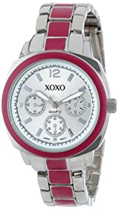 XOXO Women's XO111 Silver Dial Silver-tone and Pink Enamel Bracelet Watch