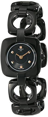 Tissot Women's T020.109.11.051.00 Odaci-T Black Dial PVD Square Watch