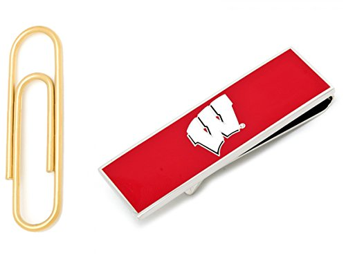 University Of Wisconsin Badgers Money Clip With Gold Stainless Steel Paper Clip Money Clip