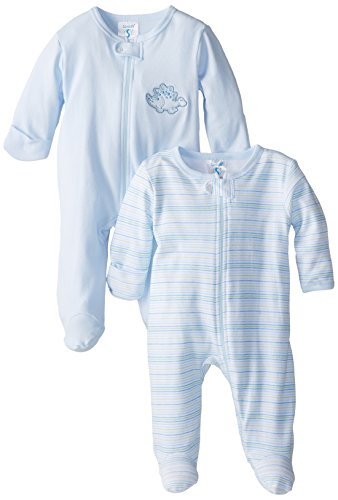 Spasilk Baby-Boys 100-Percent Cotton Newborn Sleepwear Footie Set, Blue Dino, Preemie, 2 Pack