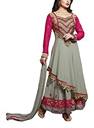 Sara Fashion Women's Georgette Unstitched Dress Material (Grey and Pink)