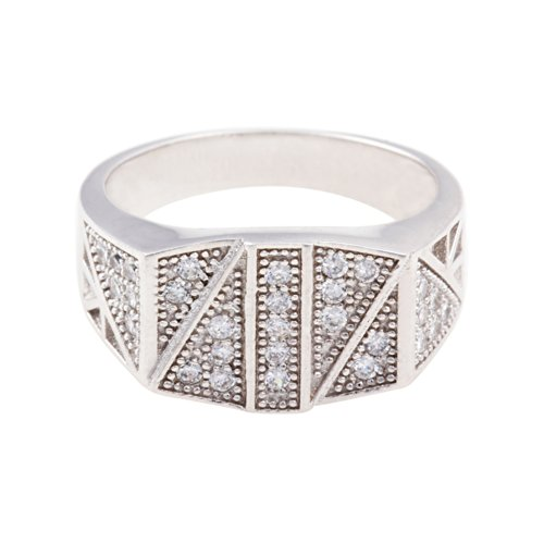 925 STERLING SILVER STUDED WITH CUBIC ZIRCONIA RECTANGLE SHAPE RING WITH MICRO PAVE SET-CZ