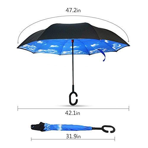 AIGUMI Innovative Winddichtes Regenschirm umge Folding Double Layer Sunblock Umwelt Bumbershoot(Blau / Schwarz ) -