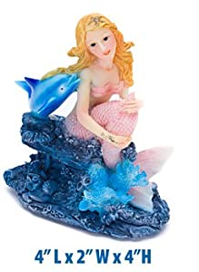Blonde mermaid with dolphin fish tank for Mermaid fish tank