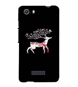 PrintVisa Girly Pink Deer Design 3D Hard Polycarbonate Designer Back Case Cover for MIcromax Unite 3 Q372