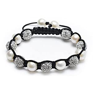 White Pearl Swarovski Clear Crystal Shamballa Inspired Bracelet 12mm