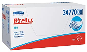 "Kimberly-Clark WypAll 34770 Disposable X60 Wiper, 1/4 Fold, 11"" Width x 23"" Length, White (9 Packs of 100)"