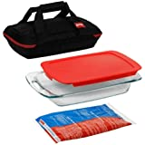 Pyrex Portable 4-Piece Set with 1-ea 3--Quart Easy Grab Oblong, Red Cover, Large Unipack, Black Carrier