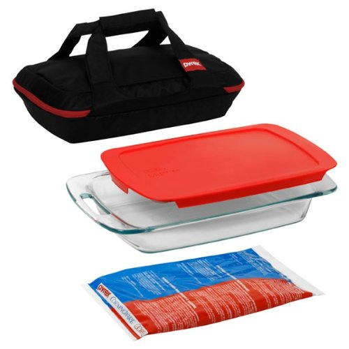 Pyrex Portables 4-Piece Glass Bakeware and Food Storage Set (Baking Dish Insulated compare prices)