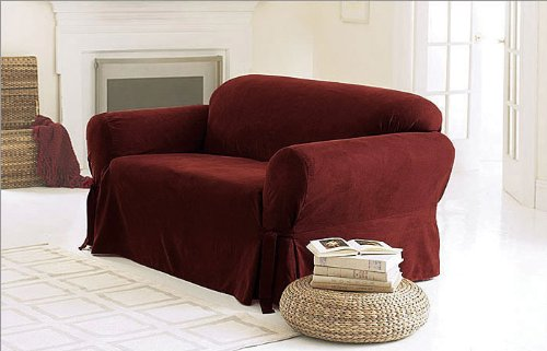 Green Living Group Chezmoi Collection Soft Micro Suede Solid Red Couch/Sofa Cover Slipcover with Elastic Band Under Seat Cushion, Burgundy image