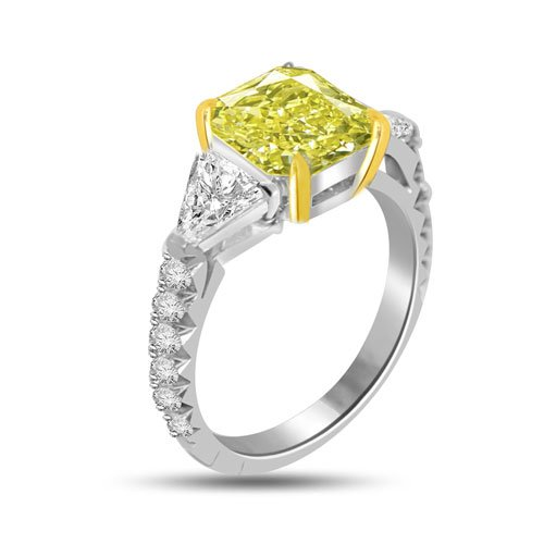 4.00 Ct GIA Certified Yellow Fancy Diamond Engagement Ring