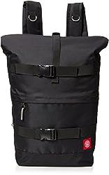 OBEY Men's Revolt Red Rolltop Bag, Black, One Size