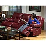 Catnapper Cortez Leather Reclining Sofa in Red with Power Option