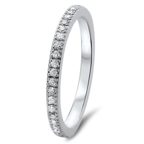 F/SI 0.50Carat Round Brilliant Cut Diamonds Full Eternity Wedding Ring in 18K White Gold