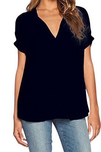 Aolakeke Women Chiffon Blouse V Neck Short/Long Sleeve Top Shirts (Sexy Peasant Tops)
