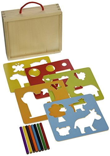 Vilac Baby Shape and Color Recognition Toy Wooden Stencils, Farm Animal