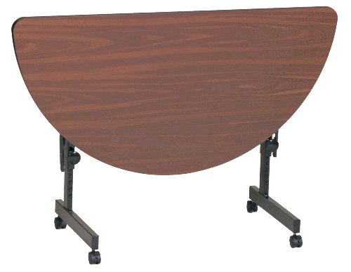 """Correll Ft2448Hr-01 Deluxe Commercial Duty, High-Pressure Laminate Flip Top Table, Adjustable Height, 24"""" X 48"""" Half-Round, Walnut Top"""