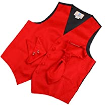 VS2027-S Red Polka Dots Fantastic Vests Cufflinks Hanky Ascot Ties By Y&G