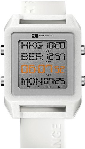 Hugo Boss Orange 1512819 Square White Digital Silicone Strap Men's Watch