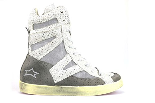 scarpe donna ISHIKAWA sneakers bianco beige camoscio pelle tessuto AM666 (41 EU)