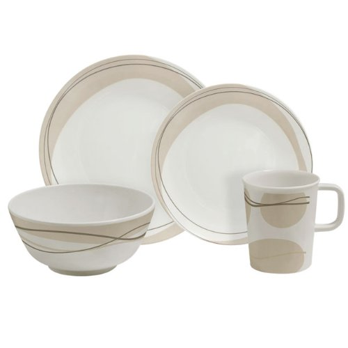 Cappuccino 16 Piece Melamine Tableware Set