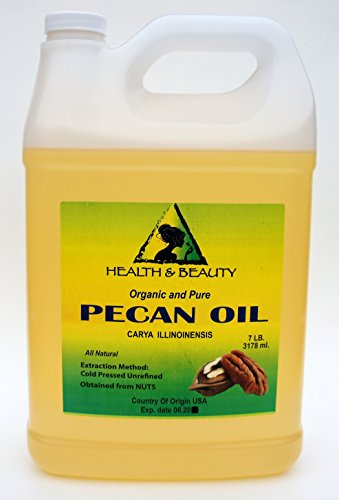 Pecan Oil Unrefined Organic Carrier Cold Pressed Virgin Raw Premium Pure 128 oz, 7 LB, 1 gal