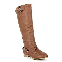 COCO 1 Womens Buckle Riding Knee High Boots,Coco-01v4.0 Tan 7