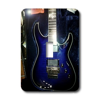 Lsp_194734_1 Florene - Music - Print Of Blue Electric Guitar With Chrome Skull - Light Switch Covers - Single Toggle Switch